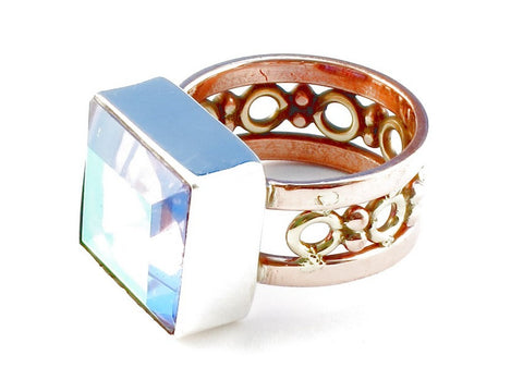 Design 104945 Blue Topaz Gemstone .925 Sterling Silver Ring Size 5