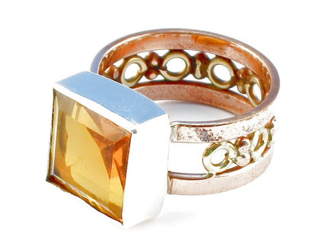 Design 104952 Golden Topaz Gemstone .925 Sterling Silver Ring Size 7
