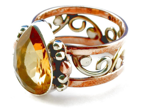 Design 105200 Citrine .925 Sterling Silver Ring Size 6