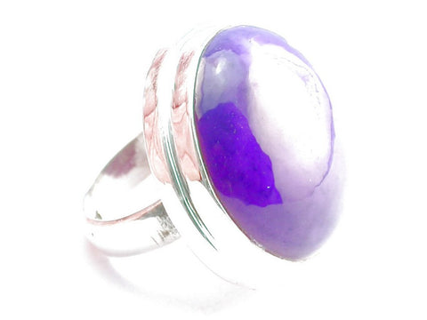 Design 104013 Purple Geode Druzy .925 Sterling Silver Ring Size 6