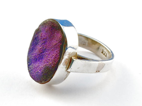 Design 104225 Purple Geode Druzy .925 Sterling Silver Ring Size 5