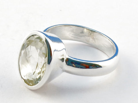 Design 104339 Green Amethyst .925 Sterling Silver Ring Size 6