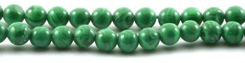 Bead Supplies Green Malachite Round Beads Strand 15""