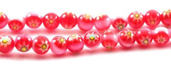 Red, Yellow, White Round Glass Beads Strand 4mm 16""