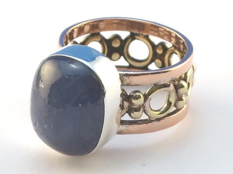 Cabochon Rectangle Iolite .925 Sterling Silver Ring Size 5