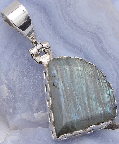 One-of-a-Kind Labradorite .925 Sterling Silver Jewelry Pendants 1.6""