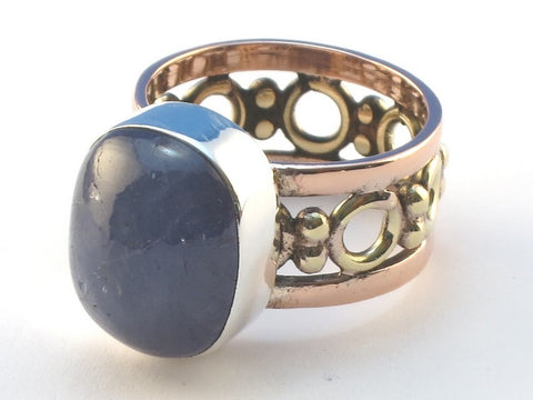 Cabochon Rectangle Iolite .925 Sterling Silver Ring Size 9