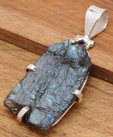 Handcrafted Labradorite .925 Sterling Silver Jewelry Pendant 2""