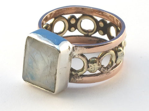 Cabochon Rectangle Rainbow Moonstone .925 Sterling Silver Ring Size 8