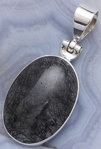 Original Black Rutilated Quartz .925 Sterling Silver Jewelry Pendant 1.7""