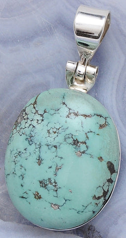 Artisan Turquoise .925 Sterling Silver Jewelry Pendant 1.6""