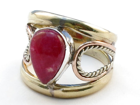 New Ruby Rainbow Moonstone .925 Sterling Silver Ring Size 6