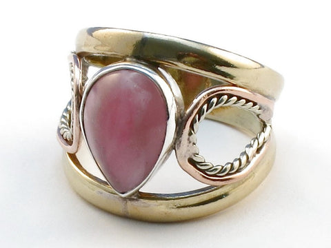 Exotic Pink Rhodocrosite .925 Sterling Silver Ring Size 6