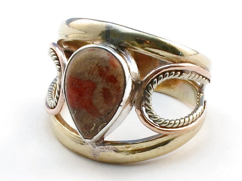 Handcrafted Orange Copper Turquoise .925 Sterling Silver Ring Size 6