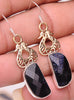 Handcrafted Blue Sunstone .925 Sterling Silver Jewelry Earrings 2""