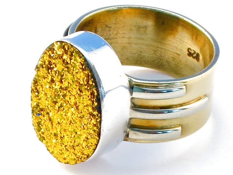 Premium golden druzy .925 Sterling Silver Ring Size 6