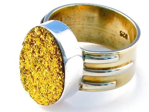 Exotic golden druzy .925 Sterling Silver Ring Size 6
