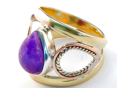 Jewelry Shop purple rainbow moonstone .925 Sterling Silver Ring Size 6