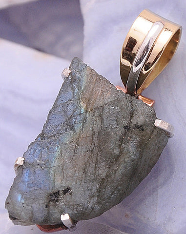 Handcrafted Labradorite .925 Sterling Silver Jewelry Pendant 1.5""