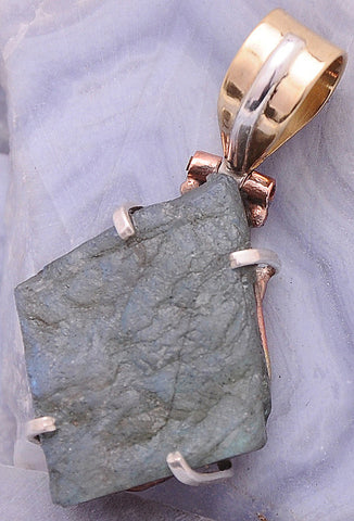 Handcrafted Labradorite .925 Sterling Silver Jewelry Pendant 1.4""