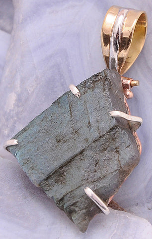 Handcrafted Labradorite .925 Sterling Silver Jewelry Pendant 1.6""