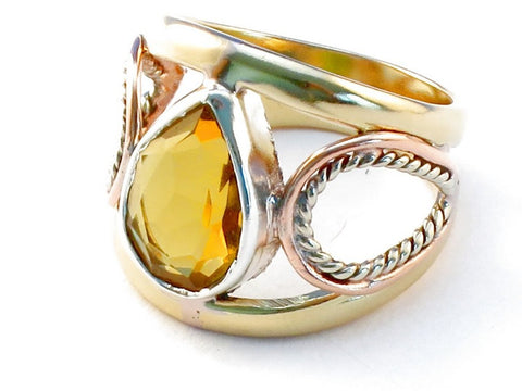 Handmade citrine .925 Sterling Silver Ring Size 6