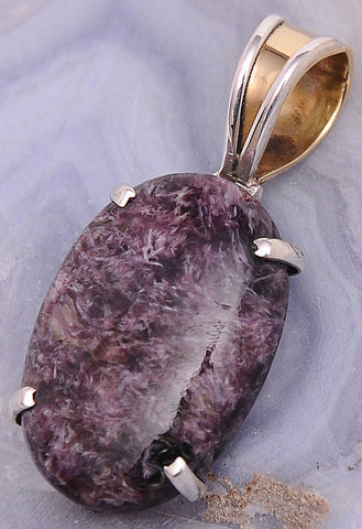 Charoite .925 Sterling Silver Jewelry Pendant 1.5""