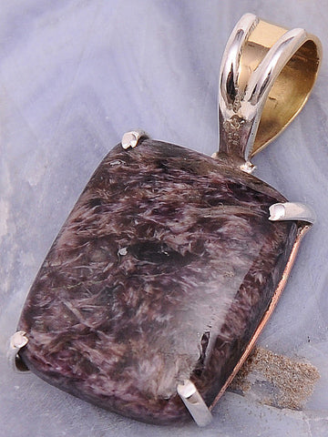 Charoite .925 Sterling Silver Jewelry Pendant 1.4""