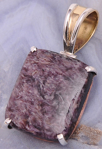 Charoite .925 Sterling Silver Jewelry Pendant 1.3""