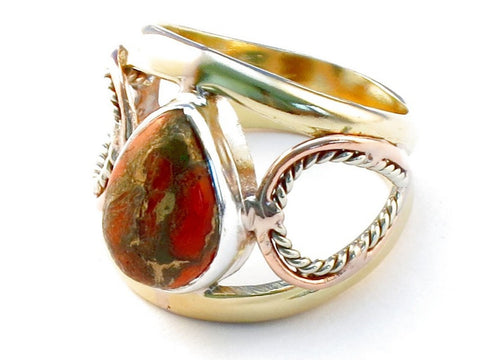 Artistic orange copper turquoise .925 Sterling Silver Ring Size 10