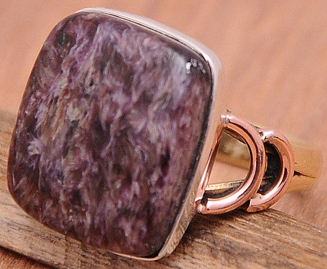 Charoite .925 Sterling Silver Jewelry Ring Size 9