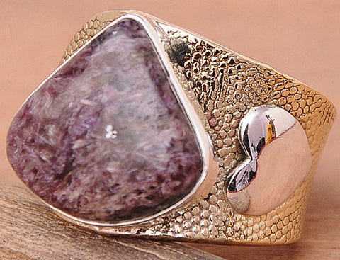 Russian Charoite .925 Sterling Silver Jewelry Rings Adjustable
