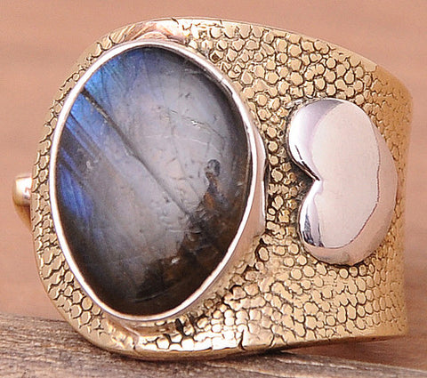 Labradorite .925 Sterling Silver Jewelry Rings Adjustable