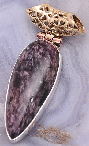 Russian Charoite .925 Sterling Silver Jewelry Pendants 1.5""