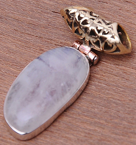 Rainbow Moonstone .925 Sterling Silver Jewelry Pendants 1.2""