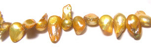 Yellow short Irregular Freshwater Pearls Strand 15""