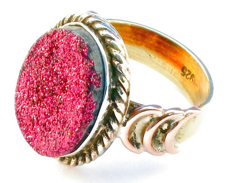 Handcrafted pink druzy .925 Sterling Silver Ring Size 9