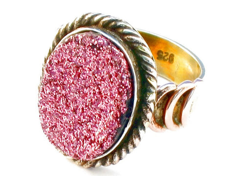 Fair Trade pink druzy .925 Sterling Silver Ring Size 7