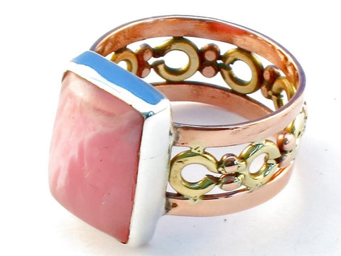 Fancy rhodocrosite .925 Sterling Silver Ring Size 6