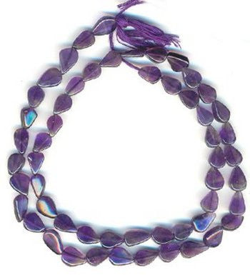 African Amethyst Pears Plain Beads Strand 15""