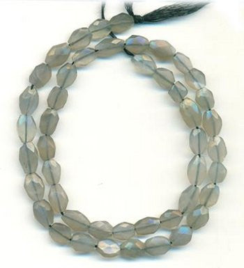 Moonstone (Gray) Oval Faceted Beads Strand 15""