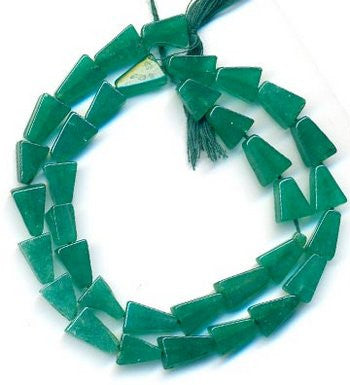 Zed (Green) Tringle Plain Beads Strand 15""