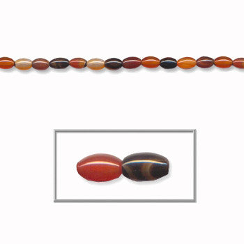 Agate multi-color, 6x10mm oval, 15-16 inch beads strand