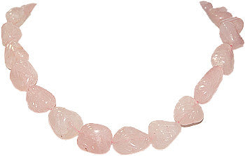 Carved Nuggets Rose Quartz Gemstone Strand 15""