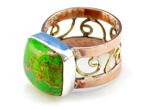 Design 110742 green copper turquoise .925 Sterling Silver Ring Size 9