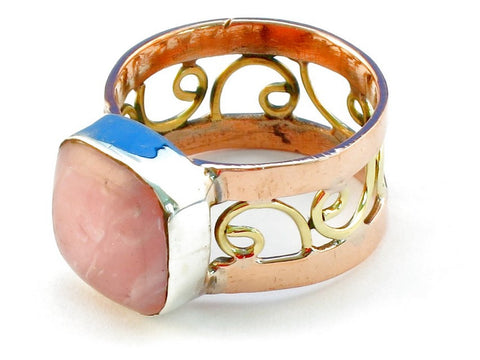 Design 110760 rhodocrosite .925 Sterling Silver Ring Size 9
