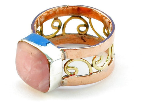 Design 110762 rhodocrosite .925 Sterling Silver Ring Size 9