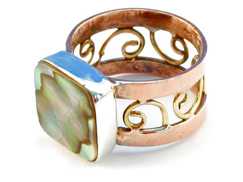Design 110763 abalone shell .925 Sterling Silver Ring Size 7