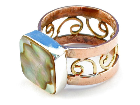 Design 110764 abalone shell .925 Sterling Silver Ring Size 7