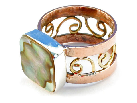 Design 110765 abalone shell .925 Sterling Silver Ring Size 7